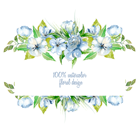 Frame border with simple watercolor blue wildflowers and green fresh leaves, hand painted on a white background, template floral design for wedding cards