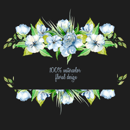 Frame border with simple watercolor blue wildflowers and green fresh leaves, hand painted on a dark background, template floral design for wedding cards