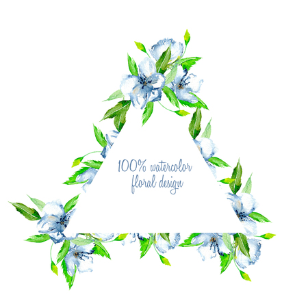 Triangular frame border with simple watercolor blue wildflowers and green fresh leaves, hand painted on a white background, template floral design for wedding cards