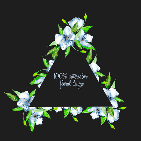 Triangular frame border with simple watercolor blue wildflowers and green fresh leaves, hand painted on a dark background, template floral design for wedding cards Foto de archivo