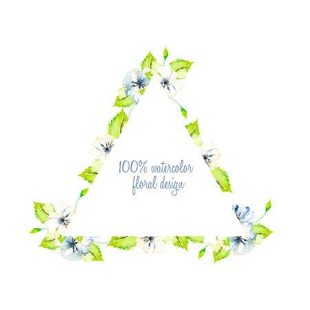 Triangular frame border with simple watercolor blue and white wildflowers and green fresh leaves, hand painted on a white background, template floral design for wedding cards