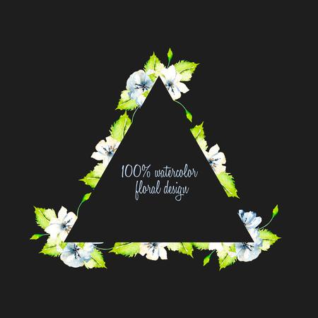 Bordo cornice triangolare con semplice acquarello blu e bianco fiori selvatici e foglie verdi freschi, dipinti a mano su uno sfondo scuro, modello progettazione floreale per le carte di nozze