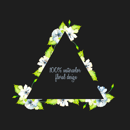 Triangular frame border with simple watercolor blue and white wildflowers and green fresh leaves, hand painted on a dark background, template floral design for wedding cards