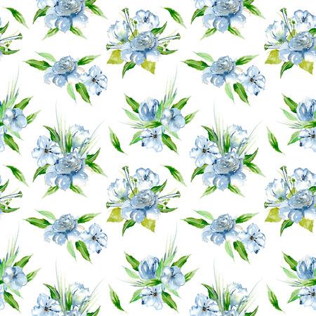 青い水彩花の花束、白地に手描きのシームレス花柄 写真素材