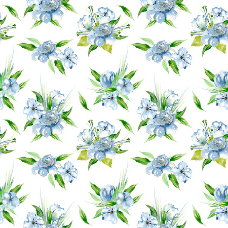 Seamless floral pattern with blue watercolor flower bouquets, hand-painted on a white background