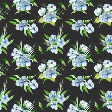 Padrão floral sem costura com buquês de flores de aguarela azul, pintados à mão em um fundo escuro