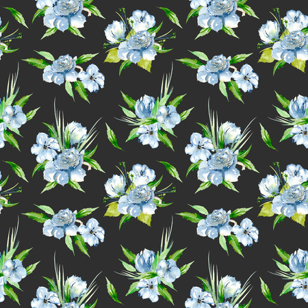 Seamless floral pattern with blue watercolor flower bouquets, hand-painted on a dark background 스톡 콘텐츠