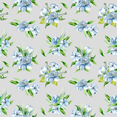 Padrão floral sem costura com buquês de flores de aguarela azul, pintados à mão em um fundo cinza