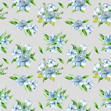 Seamless floral pattern with blue watercolor flower bouquets, hand-painted on a gray background