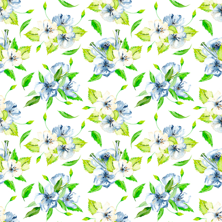Seamless floral pattern with blue and white watercolor flower bouquets, hand-painted on a light beige background