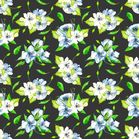 Seamless floral pattern with blue and white watercolor flower bouquets, hand-painted on a dark background