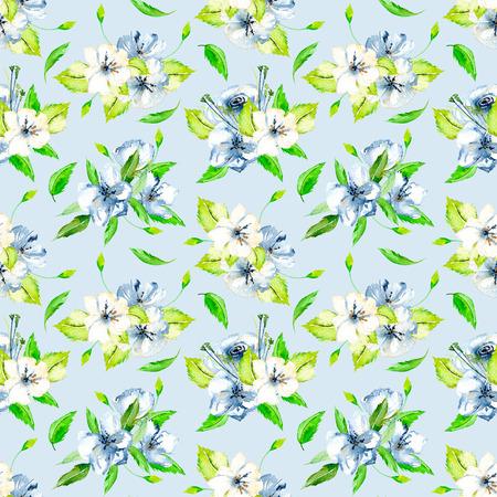 手描き青の背景に青と白の水彩花の花束とシームレス花柄 写真素材