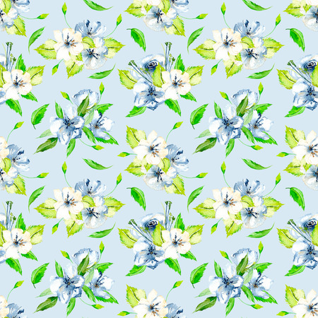 Seamless floral pattern with blue and white watercolor flower bouquets, hand-painted on a blue background 스톡 콘텐츠