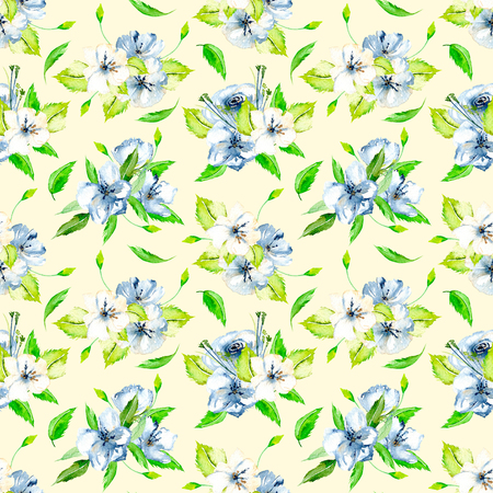 Bez szwu kwiatowy wz�r z bukietem kwiat�w akwarelowych i niebieskich, r?cznie malowane na jasnym tle be?owym Zdjęcie Seryjne