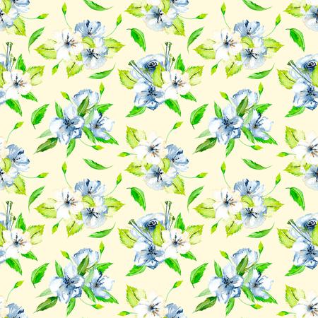 Nahtlose Blumenmuster mit blauen und weißen Aquarell Blumensträuße, handbemalt auf einem hellen Beige Hintergrund