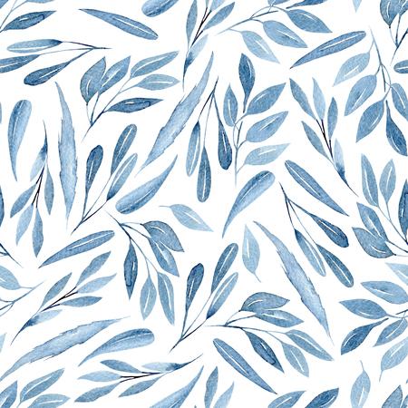 Motif floral sans couture avec des branches bleues aquarelles avec des feuilles, dessinés à la main, isolé sur fond blanc