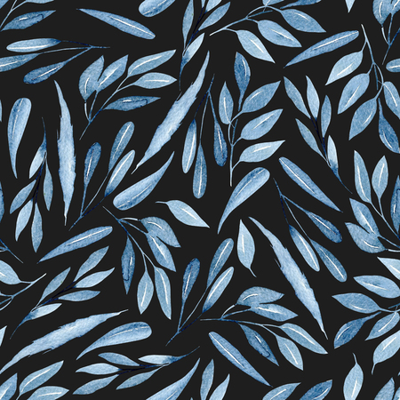 Seamless floral pattern with watercolor blue branches with leaves, hand drawn isolated on a dark background