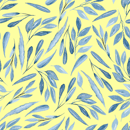 Seamless floral pattern with watercolor blue branches with leaves, hand drawn isolated on a yellow background