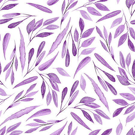 Seamless floral pattern with watercolor purple branches with leaves, hand drawn isolated on a white background