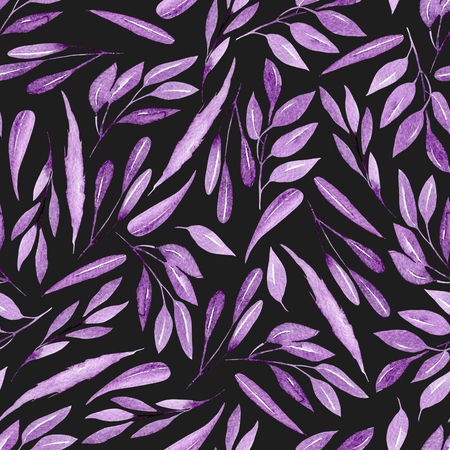 Seamless floral pattern with watercolor purple branches with leaves, hand drawn isolated on a dark background
