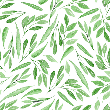 Seamless floral pattern with watercolor green branches with leaves, hand drawn isolated on a white background