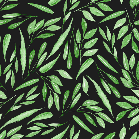Seamless floral pattern with watercolor green branches with leaves, hand drawn isolated on a dark background