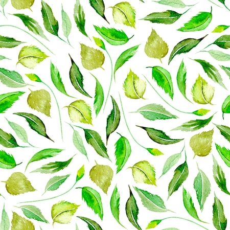 Seamless floral pattern with watercolor green leaves, hand drawn isolated on a white background Foto de archivo