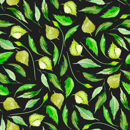 Seamless floral pattern with watercolor green leaves, hand drawn isolated on a dark background