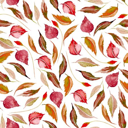 Seamless autumn floral pattern with watercolor red leaves, hand drawn isolated on a white background Foto de archivo