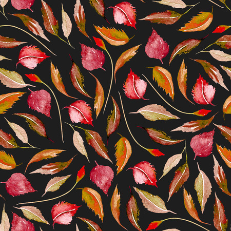 Seamless autumn floral pattern with watercolor red leaves, hand drawn isolated on a dark background Foto de archivo