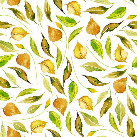 Seamless autumn floral pattern with watercolor yellow leaves, hand drawn isolated on a white background Foto de archivo