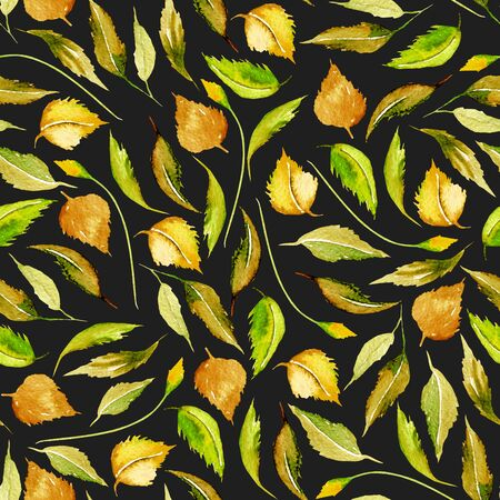 Seamless autumn floral pattern with watercolor yellow leaves, hand drawn isolated on a dark background Foto de archivo