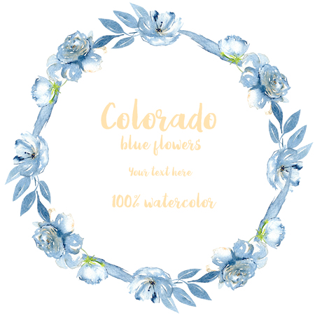Wreath, circle frame with simple watercolor blue roses and other winter flowers, leaves and branches, hand painted on a white background Stockfoto