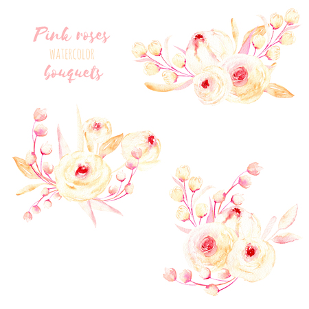 Set of watercolor pink roses and leaves bouquets illustration, hand drawn isolated on a white background, for a greeting card, decoration of a wedding invitation
