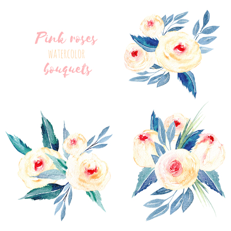 Set of watercolor pink roses and blue leaves bouquets illustration, hand drawn isolated on a white background, for a greeting card, decoration of a wedding invitation Foto de archivo