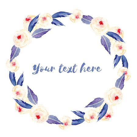 Cadre de cercle, guirlande de roses roses et de feuilles bleues, peint à la main à l'aquarelle sur un fond blanc, carte de voeux, conception de mariage, carte postale de décoration ou une invitation