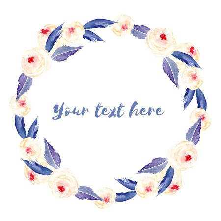 Circle frame, wreath of pink roses and blue leaves, hand painted in watercolor on a white background, greeting card, wedding design, decoration postcard or invitation