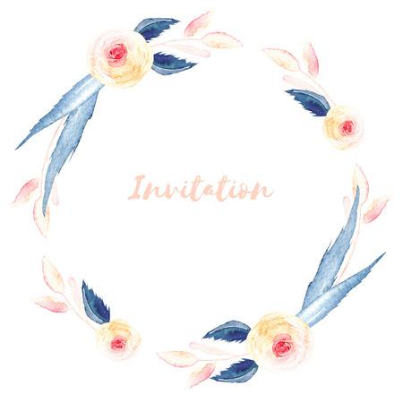 Kruhový rám, věnec růžových růží a modrých listů, ručně malovaný akvarel na bílém pozadí, blahopřání, svatební design, dekorace pohlednice nebo pozvánka