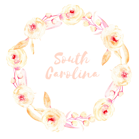 Circle frame, wreath of pink and cream roses, leaves and button branches, hand painted in watercolor on a white background, greeting card, wedding design, decoration postcard or invitation Foto de archivo