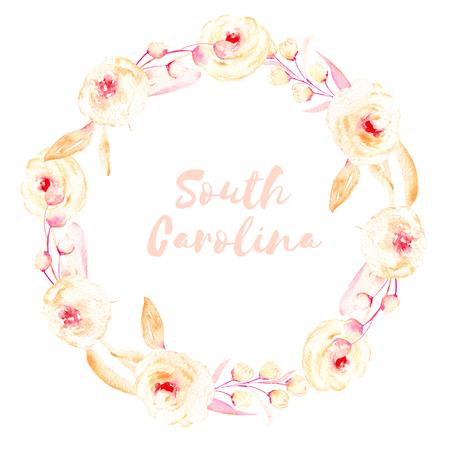 Cornice cerchio, corona di rosa e rose crema, foglie e rami di bottoni, dipinti a mano in acquerello su uno sfondo bianco, biglietto di auguri, disegno di nozze, decorazione cartolina o invito