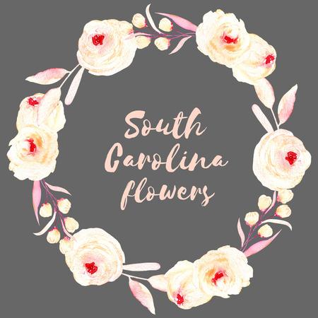 Kruhový rám, věnec růžových a smetanových květů, listy a knoflíky, ručně malované v akvarelu na tmavém pozadí, blahopřání, svatební design, dekorativní pohlednice nebo pozvánka Reklamní fotografie