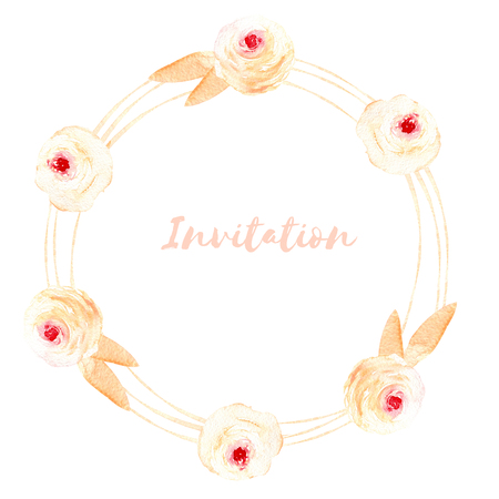 Circle frame, wreath of pink roses and cream leaves, hand painted in watercolor on a white background, greeting card, wedding design, decoration postcard or invitation Foto de archivo