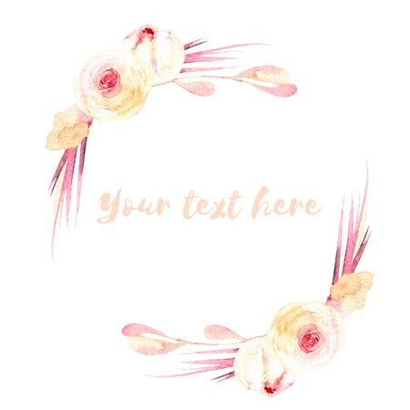 Frame border, wreath of pink and cream roses, hand painted in watercolor on a white background, greeting card, wedding design, decoration postcard or invitation