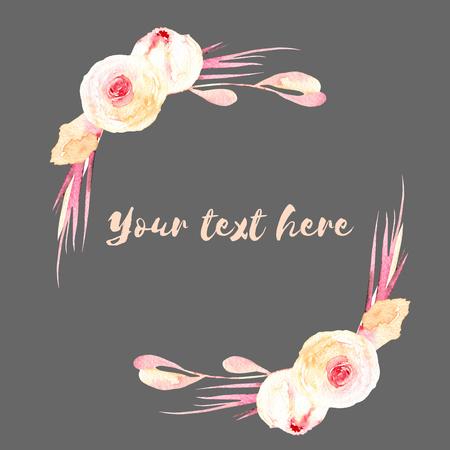 フレームの境界線、ピンクとクリーム色のバラの花輪、手描き水彩・暗い背景、グリーティング カード、結婚式のデザイン、装飾はがきや招待状に