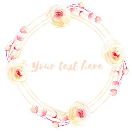 Circle frame, wreath of pink and cream roses, hand painted in watercolor on a white background, greeting card, wedding design, decoration postcard or invitation 스톡 콘텐츠