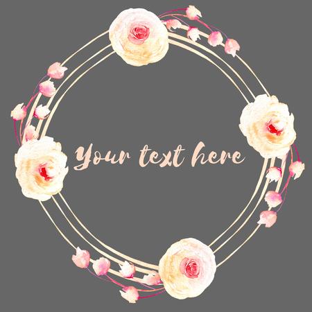 Cadre cercle, couronne de roses roses et crème, peint à la main à l'aquarelle sur un fond sombre, carte de voeux, conception de mariage, carte postale de décoration ou invitation