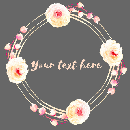 Circle frame, wreath of pink and cream roses, hand painted in watercolor on a dark background, greeting card, wedding design, decoration postcard or invitation
