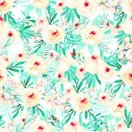 Seamless floral pattern with watercolor pink roses and mint herbs, hand painted on a white background Stock Photo