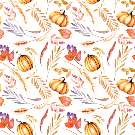 Seamless autumn pattern with watercolor pumpkins, tree branches and berries, hand painted on a white background Stock Photo