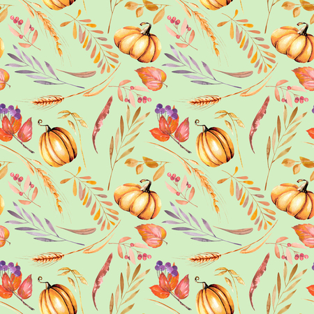 Seamless autumn pattern with watercolor pumpkins, tree branches and berries, hand painted on a green background